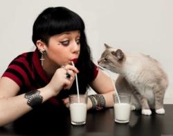 Autoportrait de mon chat Opie et moi buvant du lait